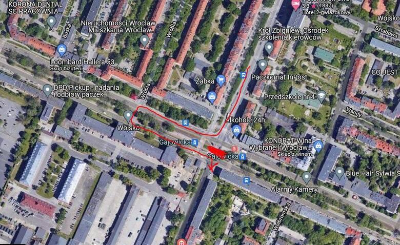 Zmiany dla kierowców jadących ulicą Gajowicką od strony centrum Wrocławia w kierunku ulicy Skarbowców.
