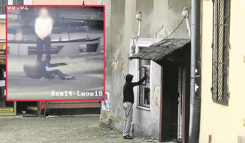 Kamery zarejestrowały szalejącego po dopalaczach mężczyznę (małe zdj.). Policja zamknęła dwa sklepy