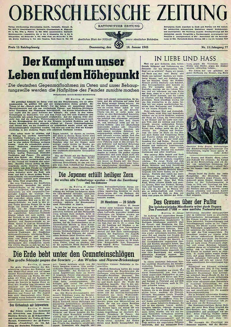 """Gauleiter Bracht zagrzewa do walki w jednym z ostatnich numerów """"Oberschlesische Zeitung"""". Kilka dni później w Katowicach byli Rosjanie"""