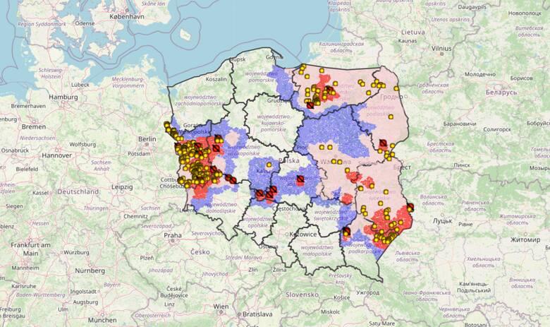 Mapa ASF w Polsce