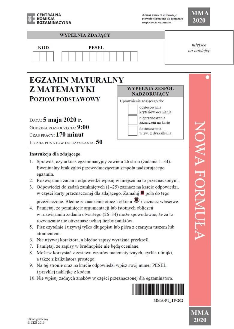 CKE, matura matematyka, odpowiedzi, arkusze