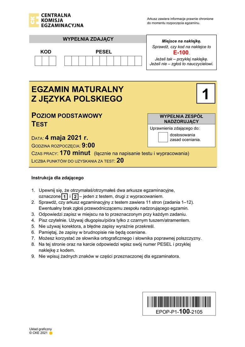 Matura 2021. Język polski poziom podstawowy. Odpowiedzi, wyniki i arkusze. Kolejne odpowiedzi ---->Kolejne odpowiedzi--->