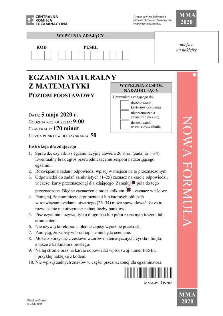 Matura 2020. Matematyka: podstawa + rozszerzenie. Odpowiedzi, zadania, przecieki, rozwiązania, arkusze CKE [08.06.2020]