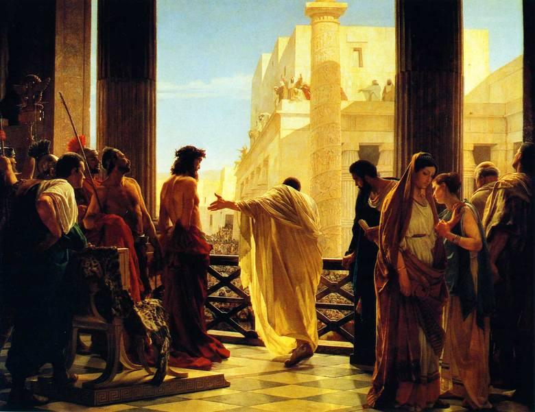 """""""Ecce Homo"""", obraz Antonio Ciseriego. Poncjusz Piłat przedstawia ubiczowanego Jezusa z Nazaretu w koronie cierniowej mieszkańcom Jerozolimy"""
