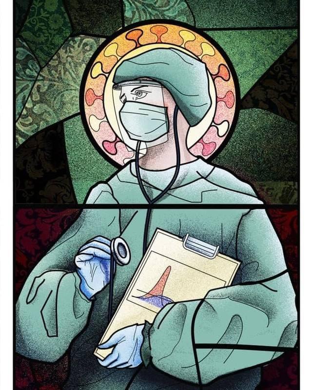 Za cykl grafik ukazujących lekarzy w stylu charakterystycznym dla wschodniego malarstwa sakralnego odpowiada rumuńska ilustratorka - Wanda Hutira.Jej