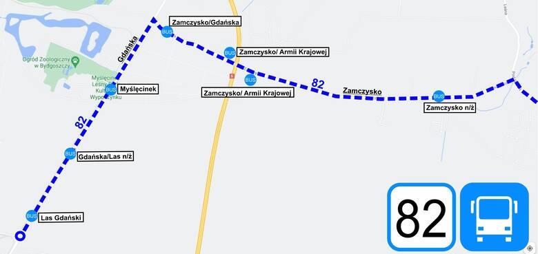 Trasa linii autobusowej nr 82 - fragment mapki poglądowej.