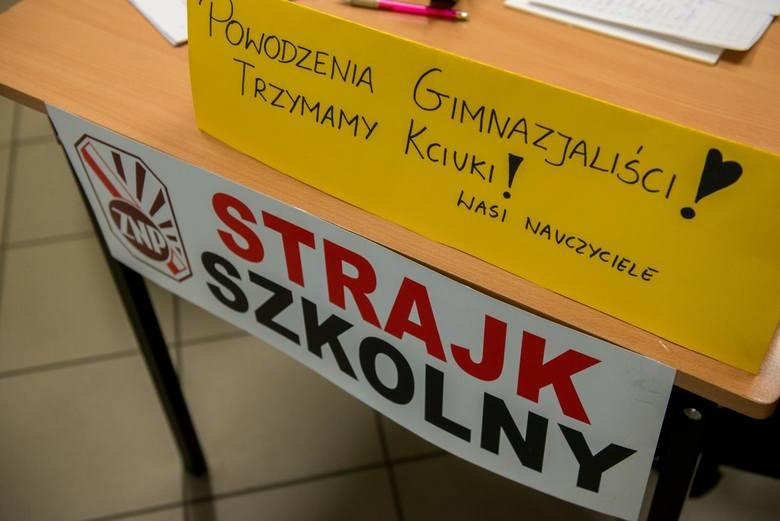 Egzamin gimnazjalny w Toruniu i strajk w tle