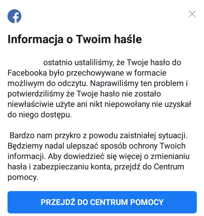 Facebook: Wyciek haseł. Hasła użytkowników nie były zabezpieczone. Komunikat pojawił się na kontach użytkowników Facebooka [08.0.2019]