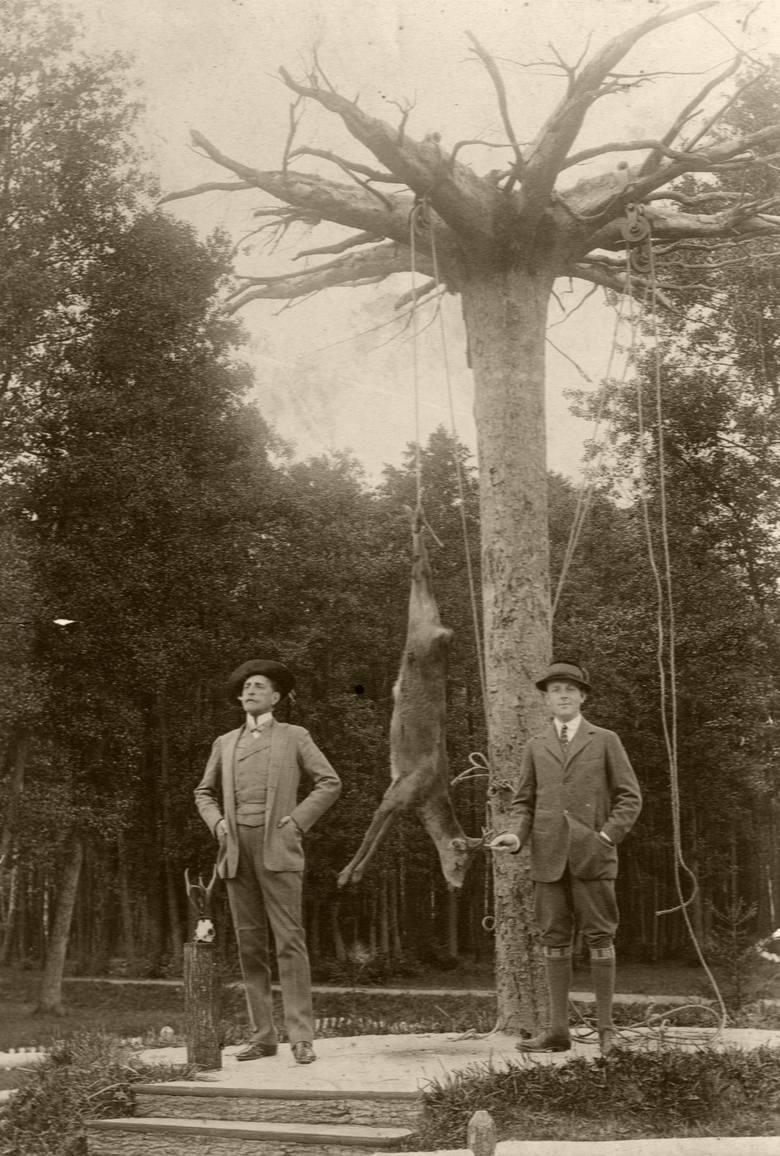 Roman Potocki z synem Alfredem z trofeami przy wieszadle w Pilawinie. Archiwum Muzeum-Zamku w Łańcucie.