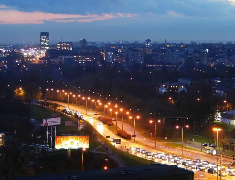 Poznań po zachodzie słońca