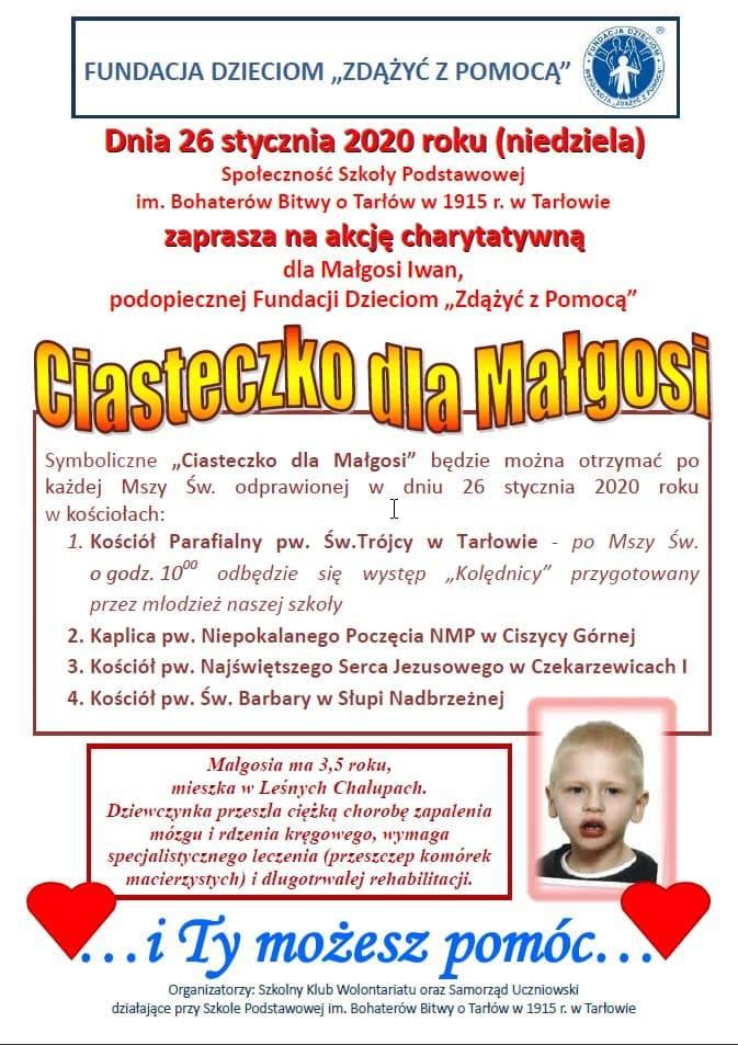 Ciasteczko dla Małgosi Iwan już w niedzielę! I ty możesz pomóc chorej dziewczynce z gminy Tarłów