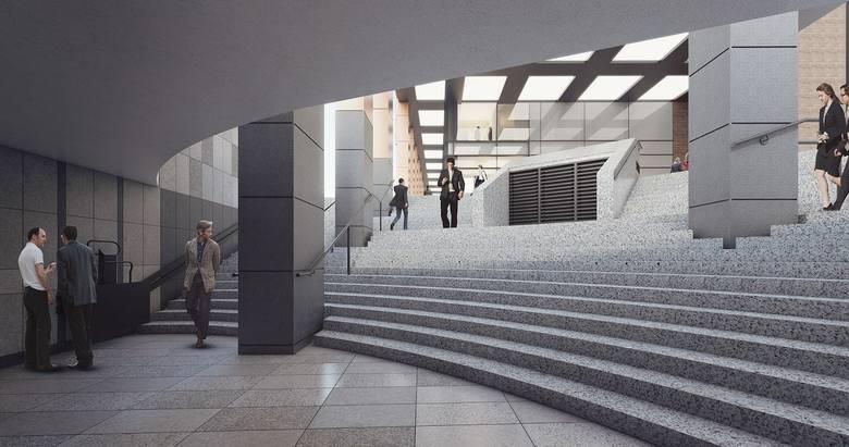 Wizualizacje nowego biurowca PZU i jego najbliższych okolic. Filary nowego budynki mają wyrastać ze schodów przejścia podziemnego.