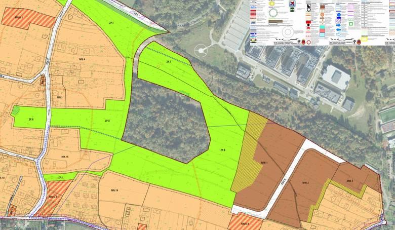 """Propozycja projektu planu """"Piaski Wielkie"""" obejmującego rejon Słonej Wody. Obszar wewnątrz zielone obszaru ZP.8 jest już chroniony"""