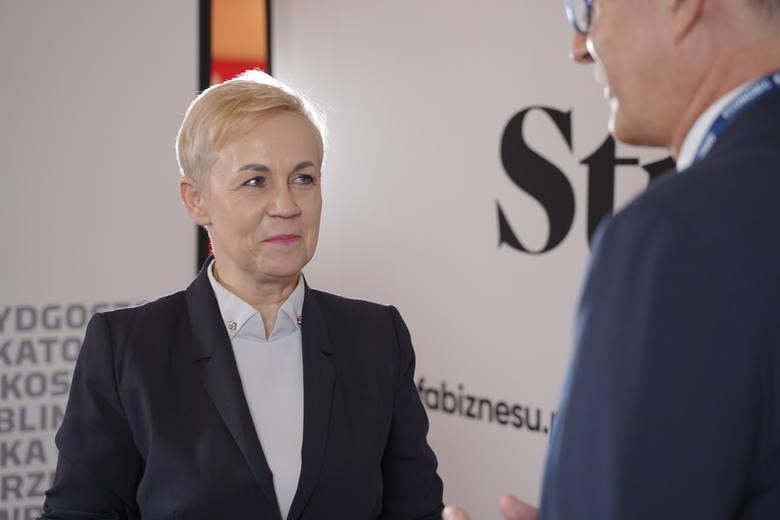 Beata Daszyńska-Muzyczka, prezes Banku Gospodarstwa Krajowego podczas rozmowy ze Zbigniewem Bartusiem z Dziennika/Gazety Krakowskiej