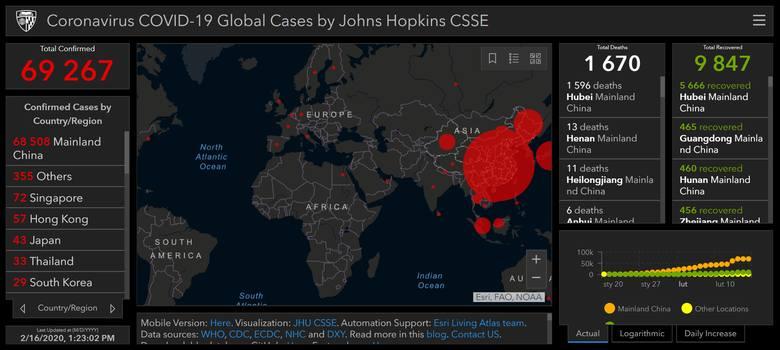 Mapa zasięgu epidemii chińskiego koronawirusa COVID-19 (niedziela, 16.02.20)