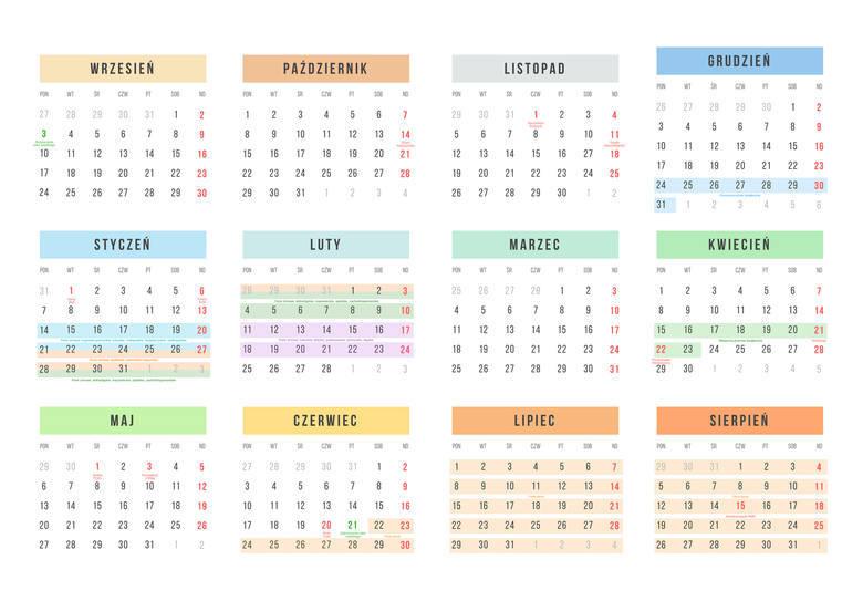 Kalendarz Roku Szkolnego 20182019 Dni Wolne Od Szkoły Kalendarz Do