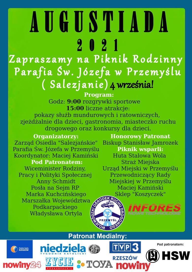 """W sobotę w Przemyślu piknik rodzinny """"Augustiada 2021""""."""