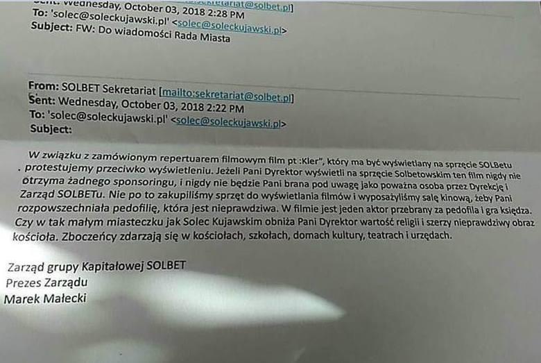 Prezes firmy Solbet do dyrektor kina w Solcu Kujawskim: - Protestujemy przeciwko wyświetlaniu filmu