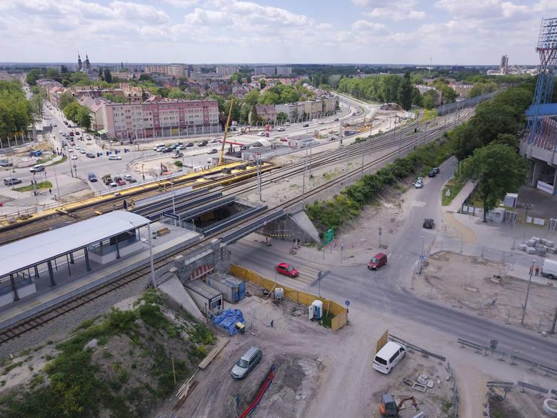 Postęp prac przy budowie centrum przesiadkowego Opole Wschodnie.