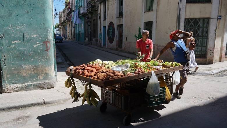 Pomniejsze stragany, często na kółkach, zaopatrują mieszkańców w warzyw niemal na każdej ulicy starej Hawany