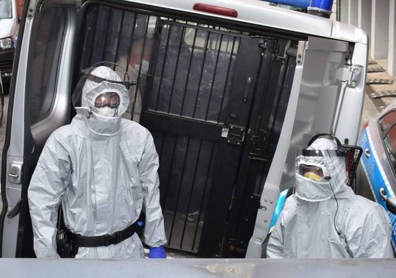 Policjanci zabezpieczeni w środki ochrony osobistej doprowadzili poszukiwanego mężczyznę do KPP w Wolsztynie.
