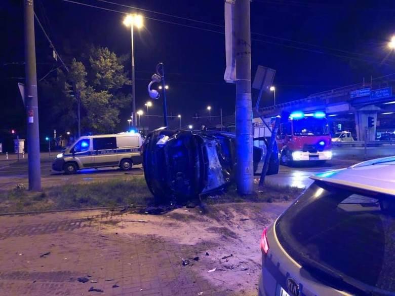Wypadek motocyklisty koło estakady w Częstochowie 7.05.2019.