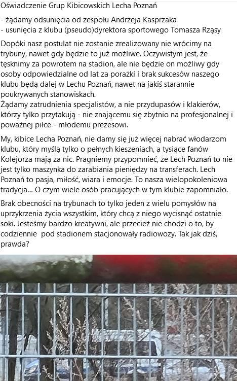 Oświadczenie grup kibicowskich Lecha Poznań