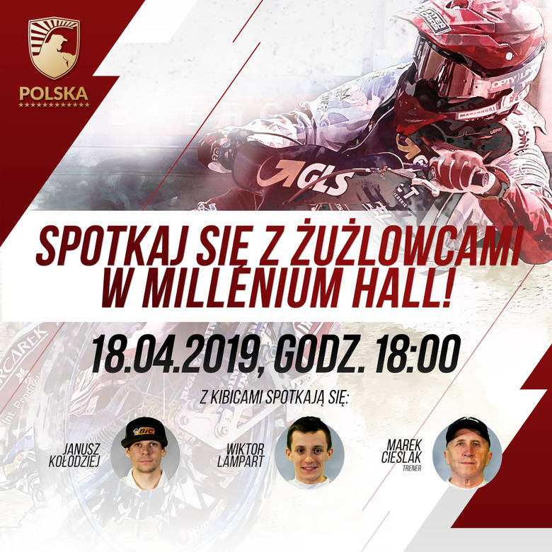 Żużel. Trener Marek Cieślak, Janusz Kołodziej i Wiktor Lampart spotkają się z w czwartek z kibicami żużla w Rzeszowie