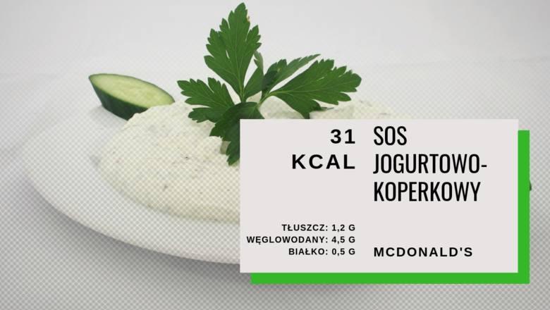 Do sałatki w McDonald's oczywiście dobieramy sos. Do wyboru mamy kilka, ale to sos jogurtowo-koperkowy jest najmniej kaloryczny. Razem z nim sałatka