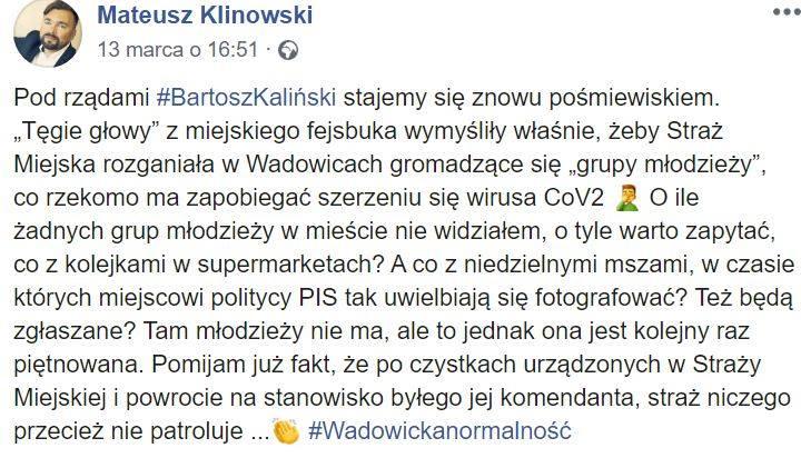 Radny Klinowski uważa, że to nękanie młodzieży