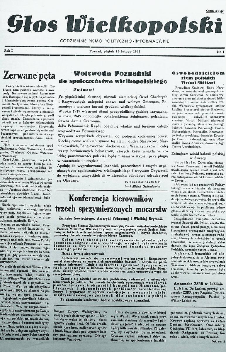 """Pierwszy numer """"Głosu Wielkopolskiego"""" ukazał się 16 lutego 1945 roku"""
