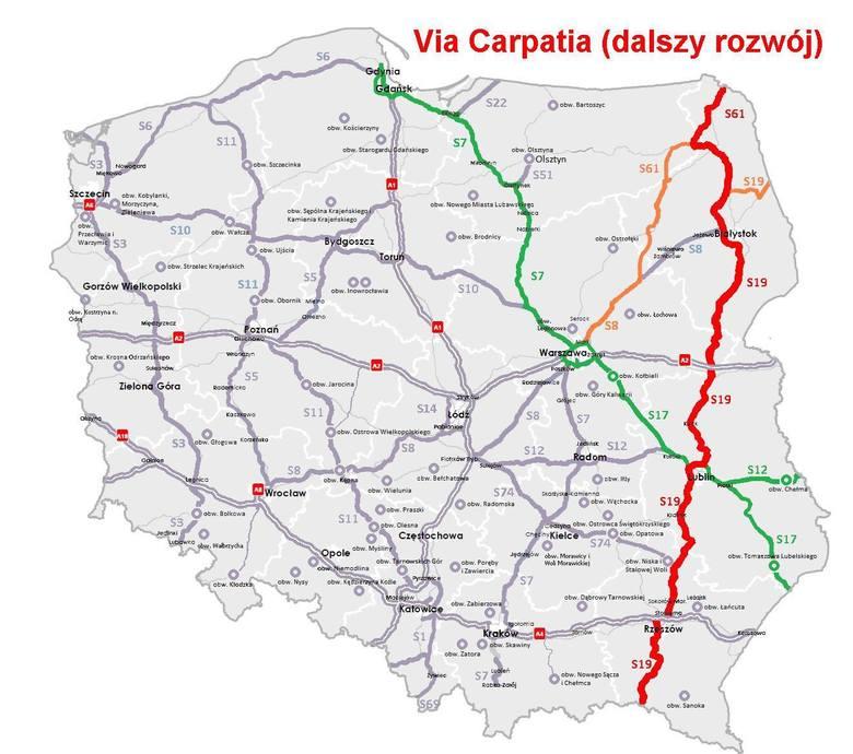 Tak będzie przebiegała Via Carpatia przez Polskę