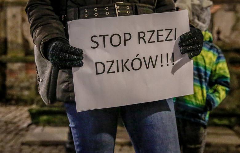"""Manifestacja """"Solidarni z dzikami"""" pod Fontanną Neptuna"""