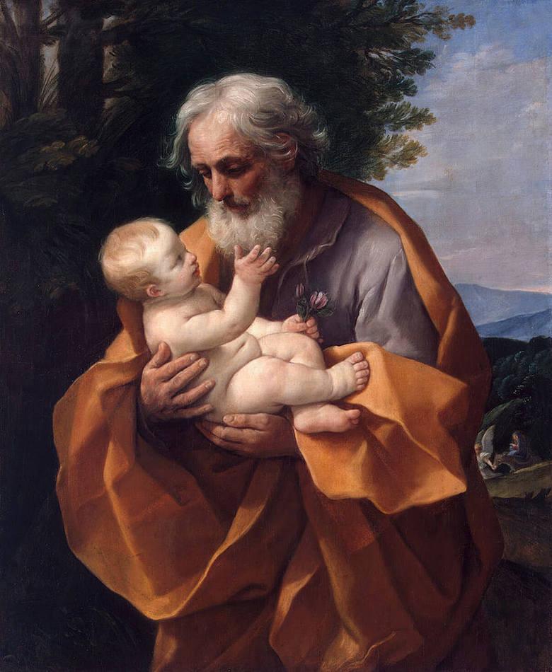 Św. Józef z Dzieciątkiem Jezus. Obraz Guido Reni