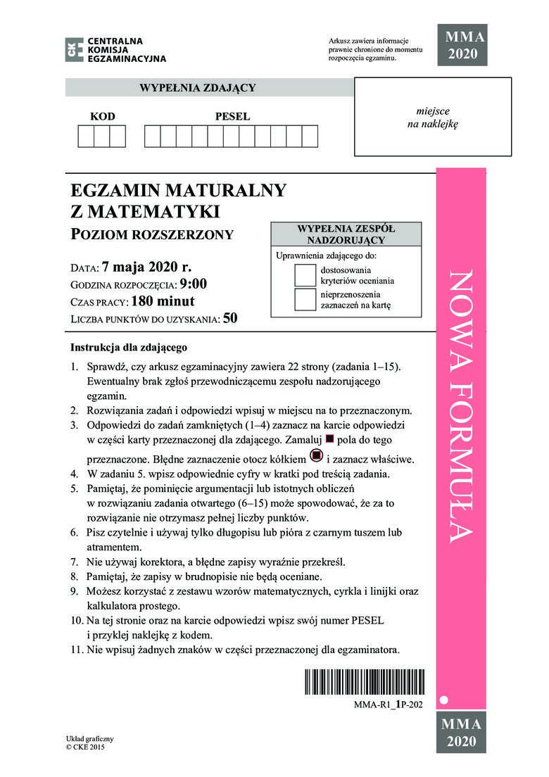 Zobacz zadania i odpowiedzi do arkusza z matury 2020 z matematyki na poziomie rozszerzonym. Uwaga, nasi eksperci na bieżąco dodają odpowiedzi i rozwiązania