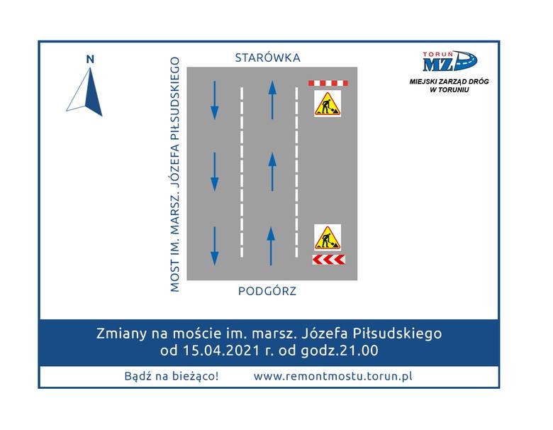 Nowa organizacja ruchu na toruńskim moście drogowym, która wejdzie w życie w czwartek wieczorem