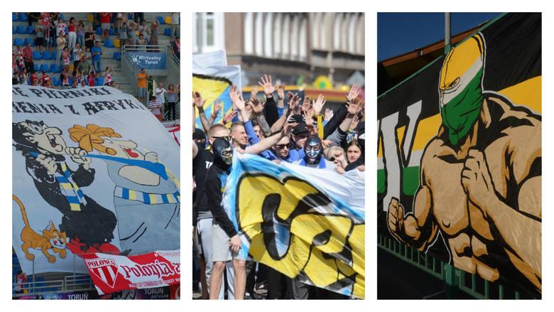 Flagi, race, transparenty - pomysłowe, ciekawe, czasem dowcipne lub złośliwe. Na niektórych stadionach żużlowych kibice zawsze dbają o wyjątkową oprawę