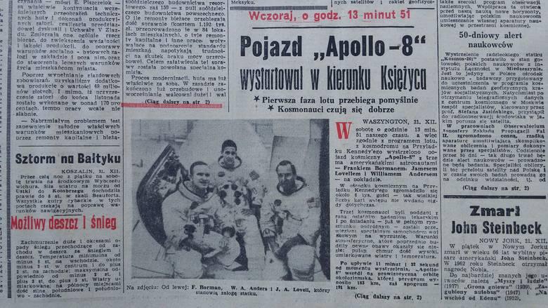 Dziennik Zachodni z 22/23 grudnia 1968 o starcie Apolla 8