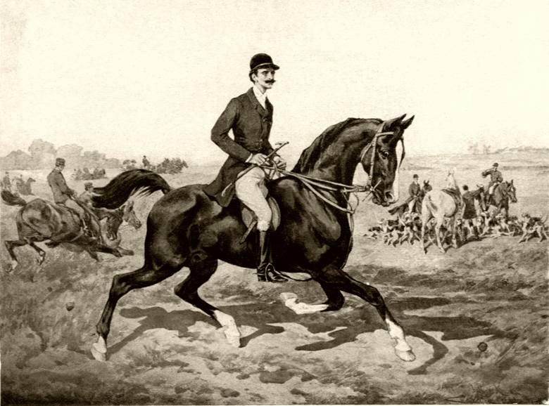 """J. Kossak, Roman Potocki na polowaniu par force w Antoninach. """"Jeździec i Hodowca"""", 1934."""