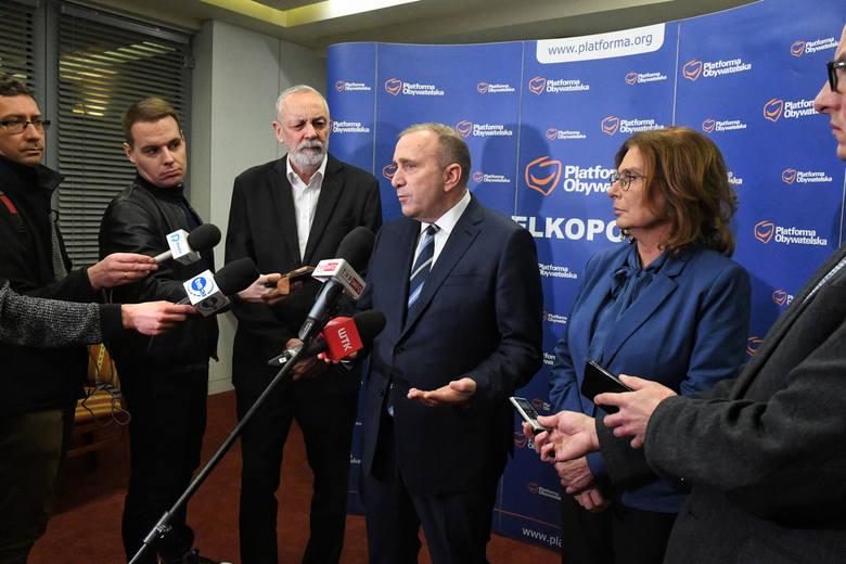Rafał Grupiński, Grzegorz Schetyna i Małgorzata Kidawa-Błońska, wicemarszałek Sejmu