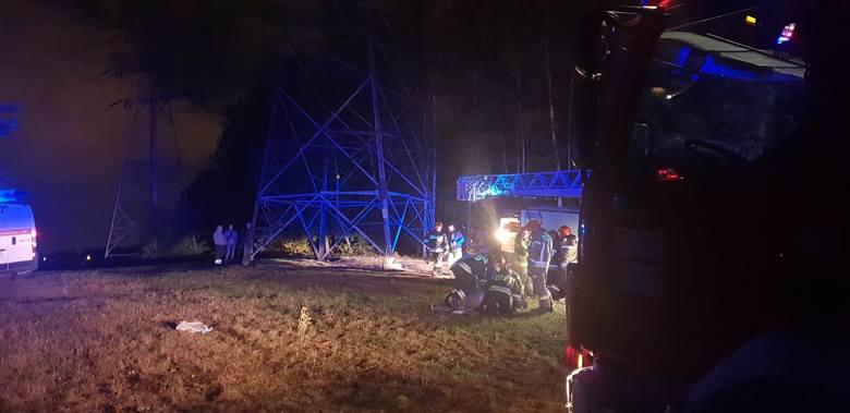 Wypadek koło elektrowni na Widzewie w Łodzi. Wszedł na słup linii energetycznej, poraził go prąd i przeżył! ZDJĘCIA