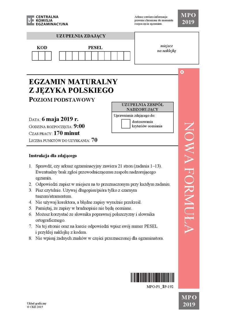 Matura 2019 język polski - odpowiedzi