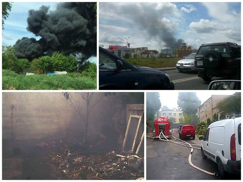 Pożar pieczarkarni przy ul. Twardej w Podjuchach w Szczecinie