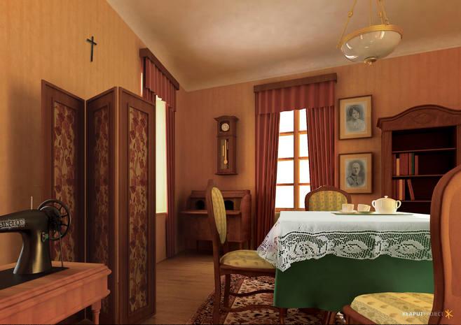 10.<br /> Odtworzony pokój rodziny Wojtyłów<br /> Od 1919 do 1938 Wojtyłowie mieszkali na piętrze domu przy ul. Kościelnej 7 (dawniej Rynek 2, mieszkania 4). W kamienicy mieścił się wtedy sklep Chiela Bałamutha oraz inne sklepy i zakłady rzemieślnicze, tworząc swego rodzaju dom towarowy....