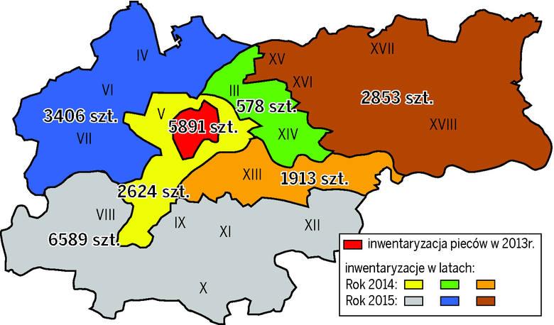 Mapa prezentuje liczbę oszacowanych palenisk węglowych w poszczególnych obszarach Krakowa