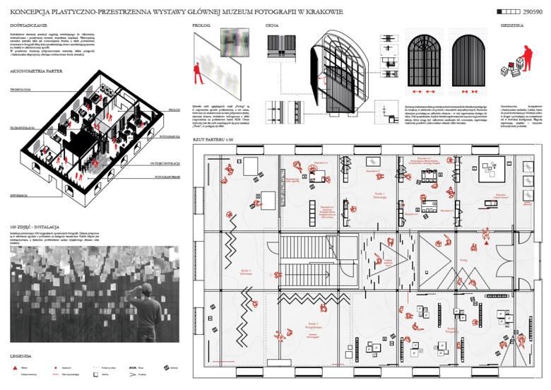 Wizualizacja nagrodzonego projektu aranżacji wystawy głównej MuFo.