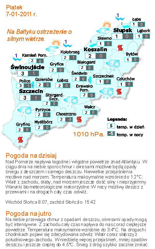 Prognoza pogody dla Szczecina i województwa zachodniopomorskiego na 7 stycznia