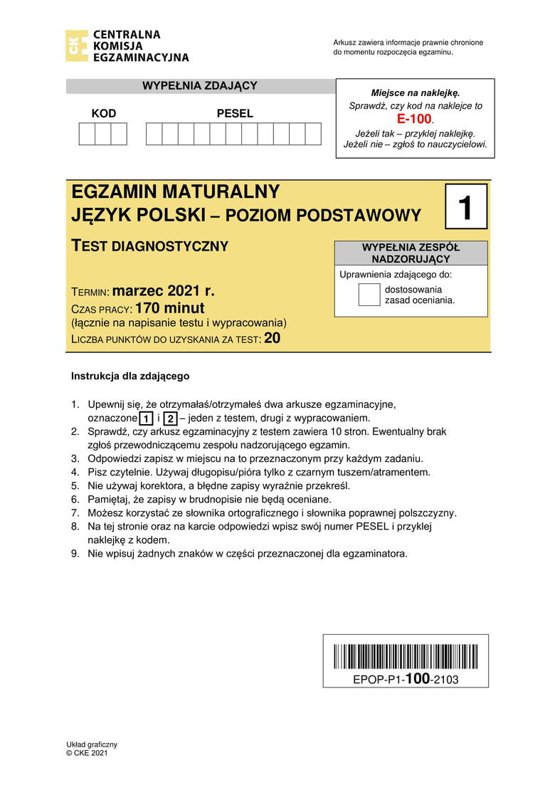 Matura próbna 2021 z języka polskiego