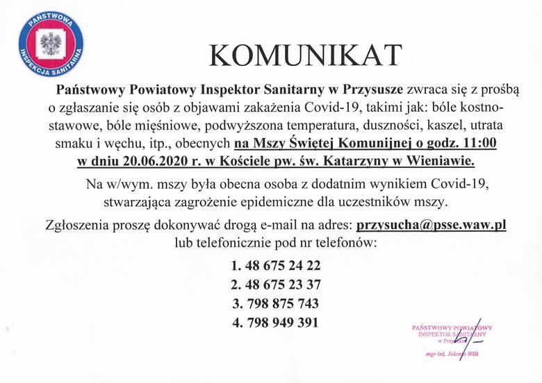 Koronawirus na Pierwszej Komunii Świętej w Wieniawie! Sanepid w Przysusze pilnie poszukuje uczestników mszy