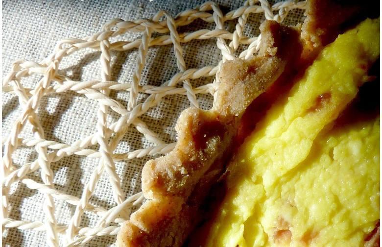 Tarta a la pierogi ruskie Agnieszki KałużnejSkładniki na ciasto 90 g mąki ryżowej50 g mąki gryczanej40 g mąki z prosa85 g zimnego masła3 jajka przepiórcze